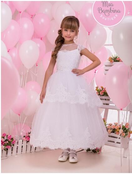 White Lace Flower Girl Dress Kids Ball Gowns First Communion Dresses Pageant Girls Glitz Scoop Sleeveless Floor length Tulle elegant lace floral appliques flower girls dress cute mint green sleeveless pearls beaded kids pageant ball gowns for communion