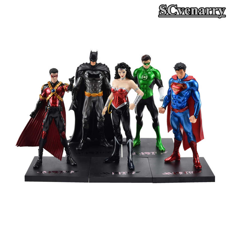DC Comics Super Herói Superman Batman Mulher Maravilha Lanterna Verde O Flash Red Robin Action Figure Collectible Modelo Toy 18 cm