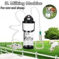 Sucking Milking Machine 3L 0.8 Gal Double Head Portable Farm Milk Bottle Vacuum Pump Bucket Milker Barrel Sheep Goat Cow Home
