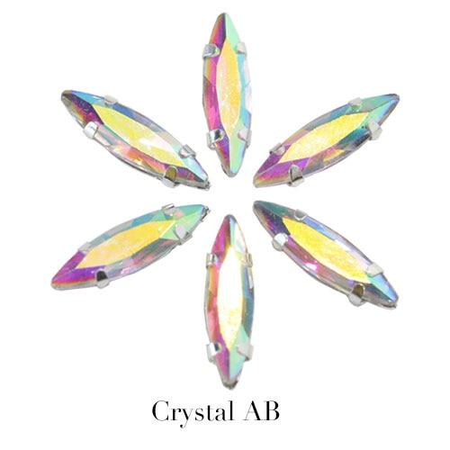 4x15 мм цветные хрустальные стразы в виде лошадиного глаза с серебристым когтем, маркиза, стразы в виде когтей для одежды, B1041 - Цвет: Crystal ab