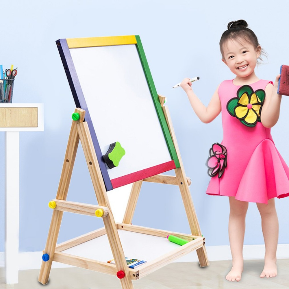 Adjustable Kids Easel Drawing Board Folding Sketchpad Magnetic Double-sided Wooden drawing writing board Learning Education Toys 90 106cm onshine adjustable child double side wooden magnetic blackboard whiteboard kids writing drawing toy eraser chalk marker