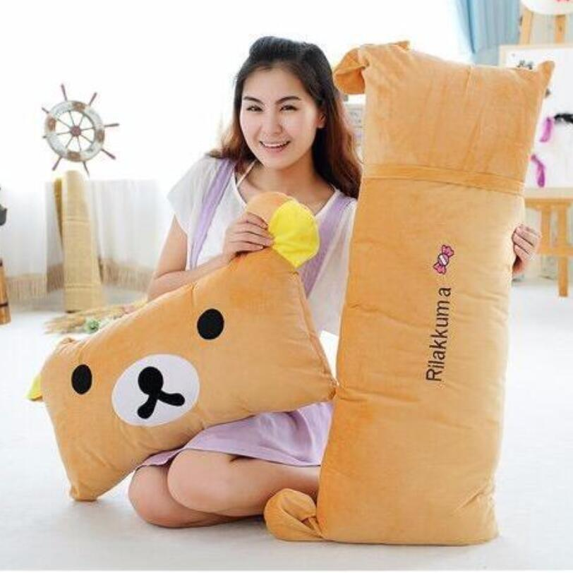 Huge Size 65cm&95cm Rilakkuma Bear Plush Toys Pillow Plush Pillow Cushion Teddy Bear Eazy Bear Stuffed Plush Double Pillow 2018 huge giant plush bed kawaii bear pillow stuffed monkey frog toys frog peluche gigante peluches de animales gigantes 50t0424