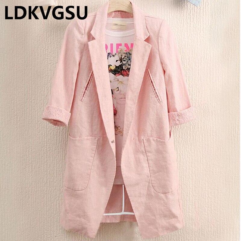 2018 Frühling Sommer Frauen Baumwolle Leinen Anzug Sieben Ärmeln Große Größe 4xl Einfarbig Tasche Spitze Lange Weibliche Blazer Mantel Is857