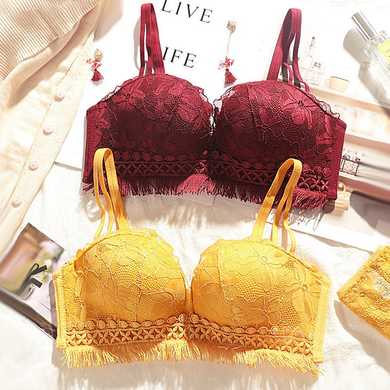 DERUILADY Lace Floral Embroidery Bralette Sexy Lingerie Adjusted Push Up Bras For Women Comfort Wireless Seamless Bra Underwear