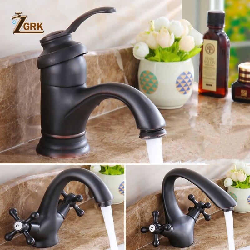 ZGRK Bathroom Faucet Hot Cold Tap Antique Brass Retro Basin Sink Mixer Taps Deck Mounted Vintage Kitchen Waterfall Mixer Black