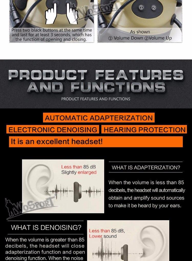 Tactical Comtac II Headset Redução de Ruído
