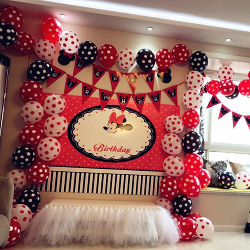 35pcs 12 Inch 2.8g Romantic Dots/Polka Balloons Pink/Black/Blue/Red Color Wedding Birthday Party Decoration Free Shipping