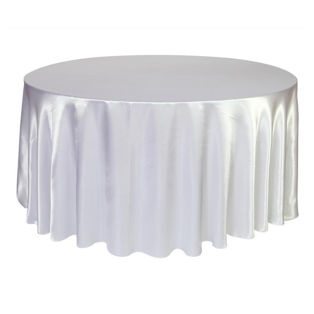 Black Satin Tablecloths Part - 20: Black - White 120 Inch Round Satin Tablecloths Table Cover for Wedding  Party Restaurant Banquet Decorations