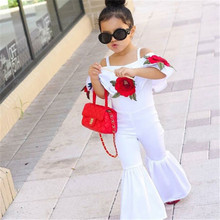 Fashion Kids Baby Girl Off shoulder Floral Romper Jumpsuits Trousers Outfits Clothes 1-5T off shoulder floral embroidery romper