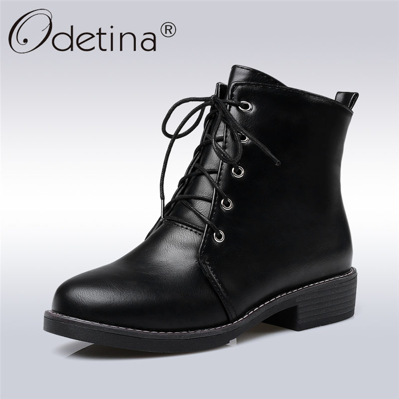 Odetina 2017 Soft Pu Leather Womens Low Heel Lace Up Ankle Boots Round Toe Booties Female