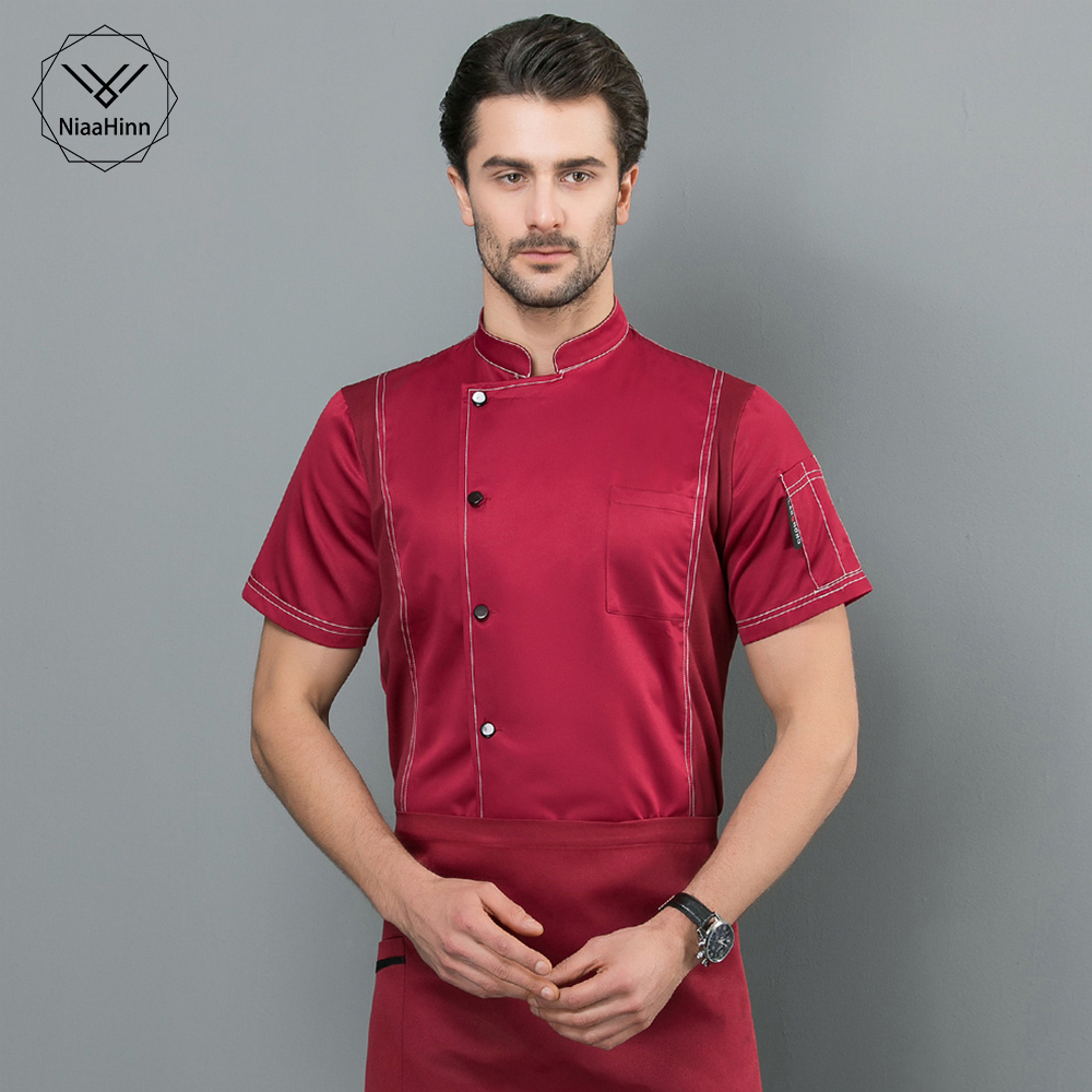 Breathable Short Sleeve Chef Clothes Food Service Hotel Kitchen Chef Restaurant Uniforms Cooker Work Clothes Men New 4-colors