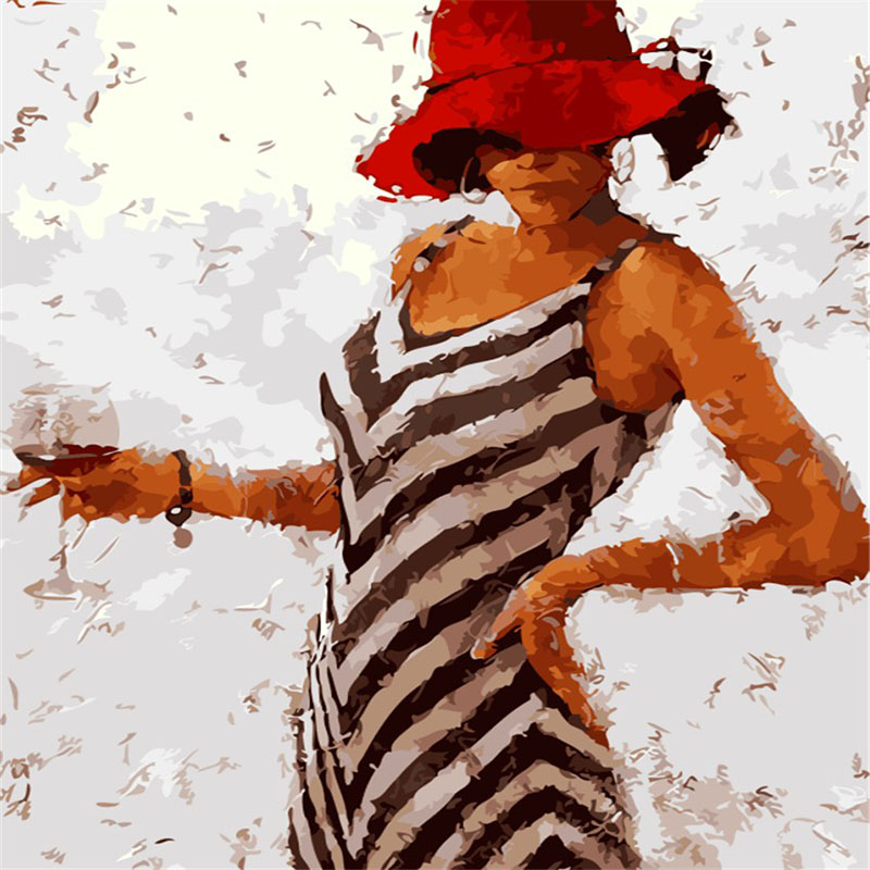 Grace Woman In Red Hat And Streak Dress Goblet In Hand Digital Oil Painting Decor Picture For Living Room Painted By Numbers