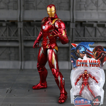 Marvel Avengers Iron Man Black Panther Hawkeye Captain America Black Widow PVC Action Figure Collectible Model Toys 17cm