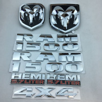 For Dodge Ram Front and back label for Ram1500 Refitting Vehicle Logo Hemi 5.7 liter leaf plate sticker 4x4 logo Car logo set