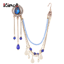 купить Kinel Indian Jewelry Earring link Headdress Women Antique Gold Blue Natural Stone Tassel Earrings Vintage Wedding Accessories по цене 207.89 рублей