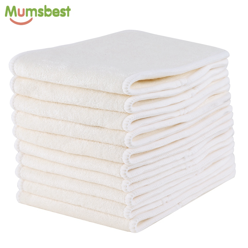 [Mumsbest] 10 Pcs 4 Layers Bamboo Insert Reusable Washable Breathable Inserts Boosters Liners For Baby Cloth Diapers Nappy