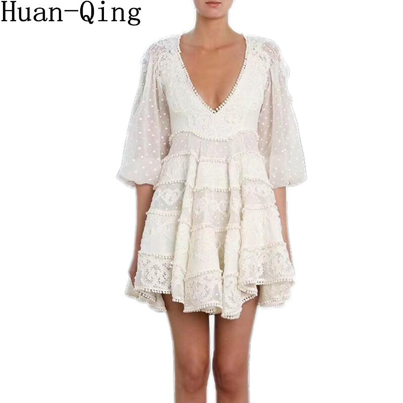 Court Style Summer Sexy Deep V Neck Lace Embroidery Slim White Dress Runway Women Dot Through