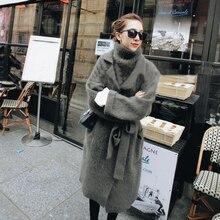 Wanita Asli Lembut Alami Mink Kasmir Sweater Nyata Mink Kasmir Renda Cardigan dengan Sabuk 3 Set dengan Rompi Tbsr324