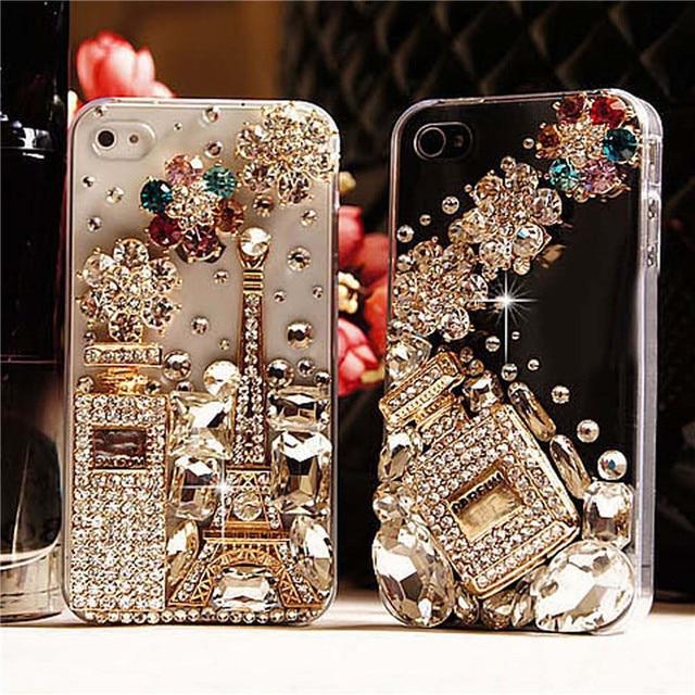 Di lusso del Diamante Torre Eiffel Strass Profumo Bling Custodie Per iPhone X 8 7 7 Più 6 6 s Più 5 s 5 5C DIY Cristallo Camelia Coque