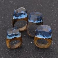 Handmade Wood Resin Ring With Magnificent Fantasy Secret Landscape Women Finger Stack Knuckle Band Ring