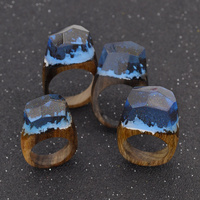 Handmade Wood Resin Ring With Magnificent Fantasy Secret Landscape Women Finger Stack Knuckle Band Ring