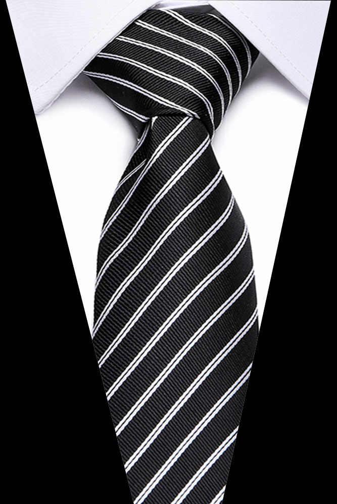 남성 클래식 실크 넥타이 스트라이프 넥타이 7.5cm 네이비 블루 넥타이 남성용 정장 비즈니스 정장 웨딩 파티 Gravatas