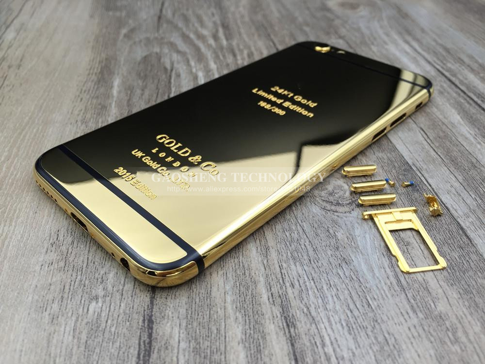 factory authentic f5b07 896a5 US $94.22  2015 24K Limited Edition Engrave Words for iPhone 6 Plus Mirror  Gold Housing Middle Frame Gold Plated Back Cover Gold Body-in Mobile Phone  ...