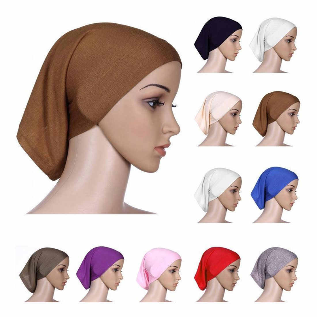 New 2019 Muslim Headscarf Women Hijab Caps Hat Cap Cotton Under Scarf Bone Bonnet Neck Cover Muslim Scarf Wholesale