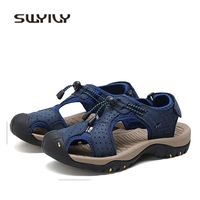 SWYIVY 45 46 Plus Big Size Men Sandals Genuine Leather 2018 New Quality Male Casual Shoes