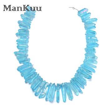 1f1fc6ba60f3 Mankuu cielo azul colgante de cristal Natural Irregular Chakra Reiki  cristal Pilar Druzy colgante de piedra Natural para la fabricación de la  joyería DIY