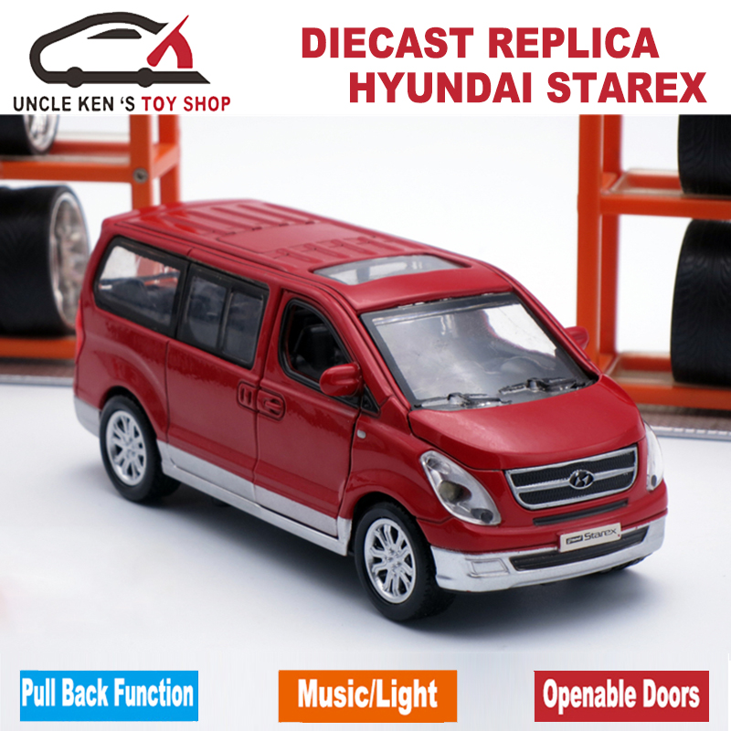 Hyundai Starex Diecast Metal Car Set, 1:38 Scale Model Vehicles With 4 Different Color,pull Back Function,light And Engine Sound