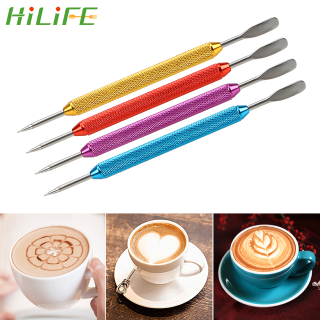 Hilife Barista Tool Stainless Steel Coffee Stencils Latte Foam Spatula 1pc Coffeeware Diy Art Needle