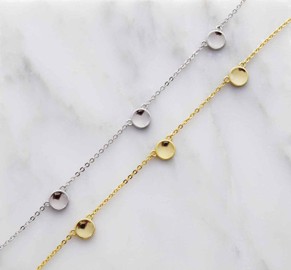 100% 925 Sterling Silver Jewelry,shinny Pure Silver Three Dots Connector Silver Girl Choker Necklace High Quality