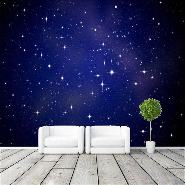Cool Wallpapers For A Room: Eco 3D Grande Mural Noite Estrelada Fundo Do Céu Azul Para