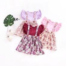 Милая Одежда для новорожденных и маленьких девочек; вечерние юбки принцессы с цветочным рисунком; юбка на лямках; одежда