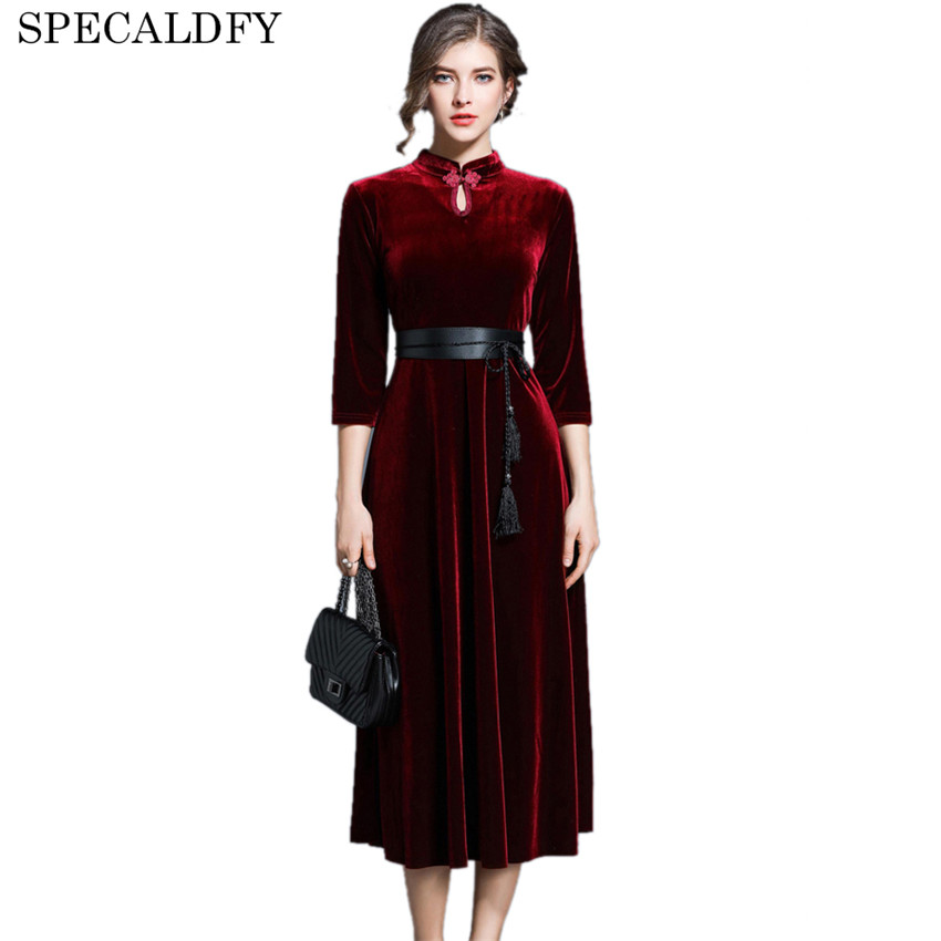 2018 printemps hiver Robe femmes 3/4 manches rouge velours Robe rétro Vintage robes de soirée Style chinois robes Mujer Robe Femme