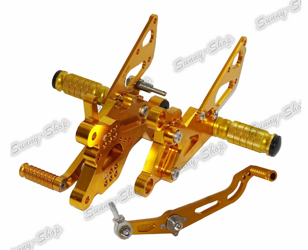 Motorcycle Adjustable Rider Rear Sets Rearset Footrest Foot Rest Pegs Gold For Yamaha YZF R6 2006 2007 2008 2009 2010 2011-2016 for yamaha yzf r125 2008 2013 aluminum cnc adjustable motorcycle rider rear sets rearset footrest foot pegs 2009 2010 2011