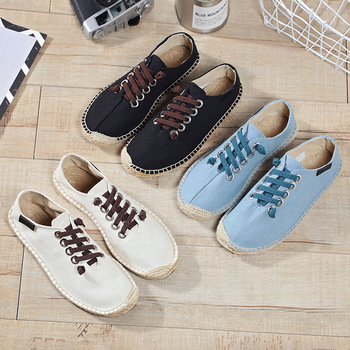 Peking Spring Summer Boats Shoes Hemp Canvas Sneakers Lace Up Breathable Men's Flats Espadrilles Fashion Casual Driving Shoes 1