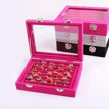 Velvet Carrying Case Jewelry Display Box Women Earring Holder Storage Wedding Ring Box Organizer Packaging Rangement Bijoux