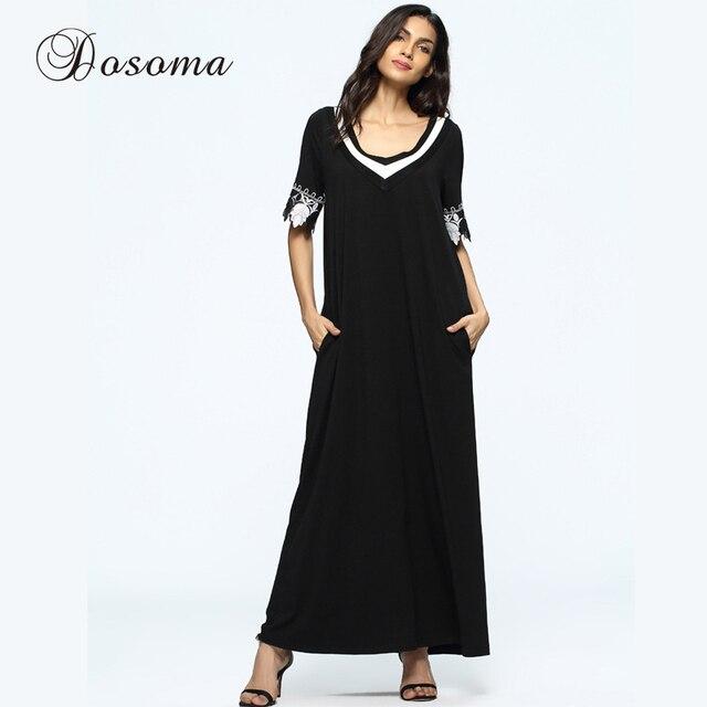 76c9069e27 Casual Muslim Abaya Maxi Dress Lace Flower Loose Style Women Robe Summer  Moroccan Burka KaftanHijab Islamic Middle East Arab