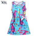 2017 Kids Trolls Clothes For Baby Clothing Pokemon Ball Printing Dress Sleeveless Beach Dress For Girls Kids Dress With Cute Bow
