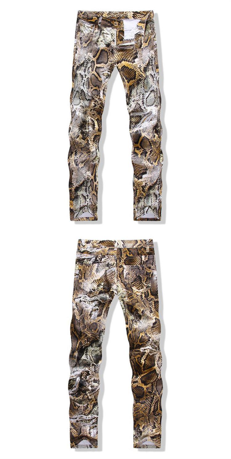 Snakeskin Print Mens Jeans Brand Denim Skinny Tights Slim Fit Biker Jeans Men Stretch Cotton Male Designer Pencil Pants Jogger 2