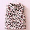 Crianças jaquetas para as meninas do bebê quente folha de impressão crianças roupas de menina roupas de inverno outerwear & Casacos de lã princesa meninas colete