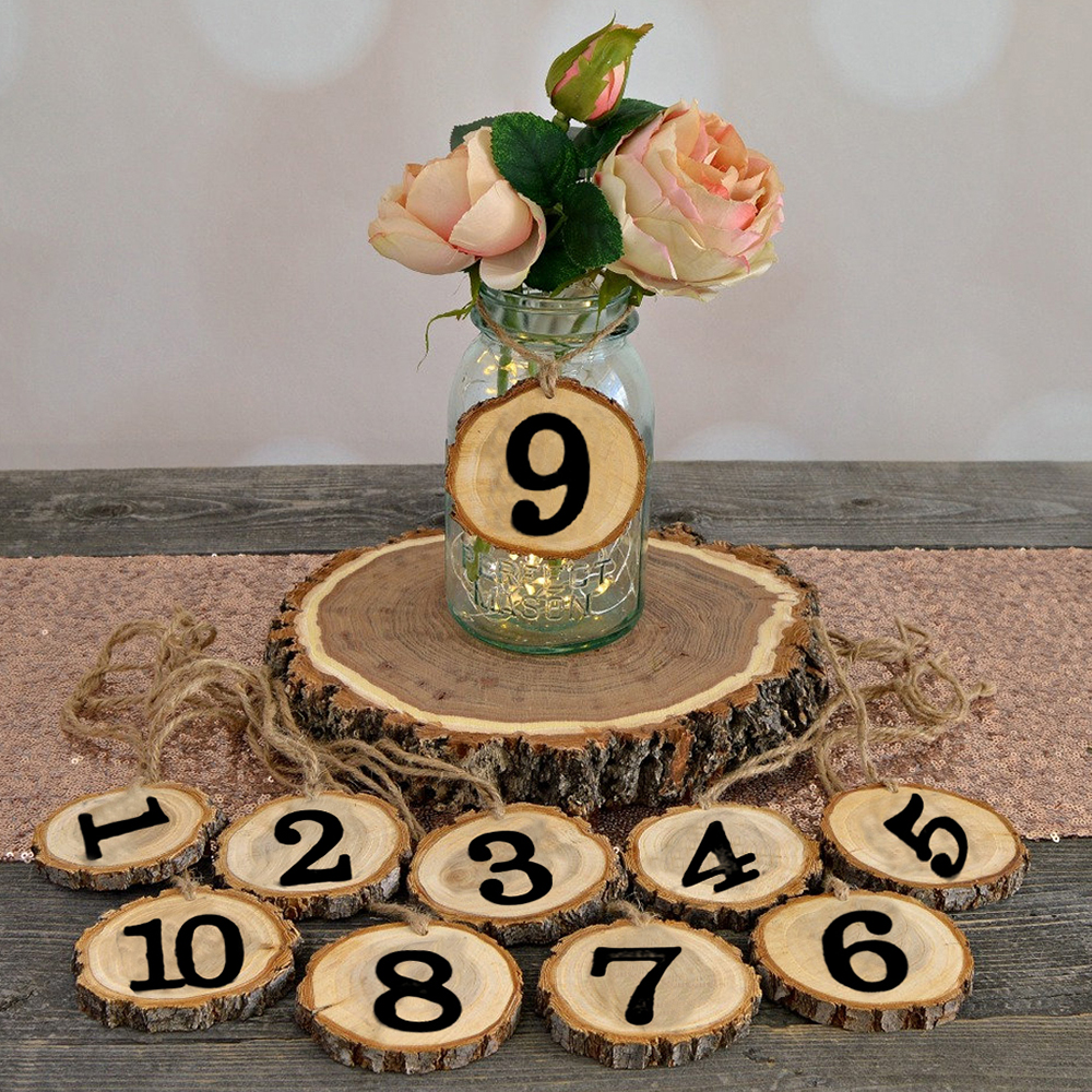 Debenhams Wedding Service Gift List Number: 10Pcs Round Natural Wood Slices Wedding Table Number