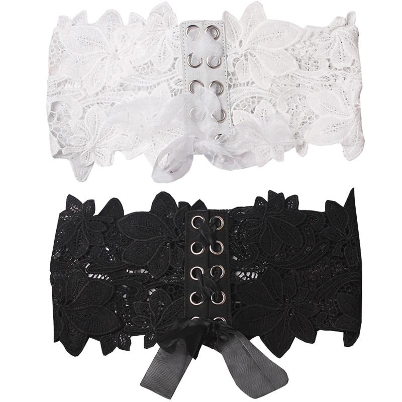 8PCS/LOT SINGYOU Lace Floral Corset Belt For Ladies Elegant Lace Wide Belt Hollow Out Embroidery Fashion Accessorie For Dress