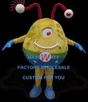 Karikatür Karakter Üç Gözler Sarı Alien Ekstra-karasal Dünyadışı Maskot Kostüm Yetişkin Boyutu Parti Karnaval SW1198