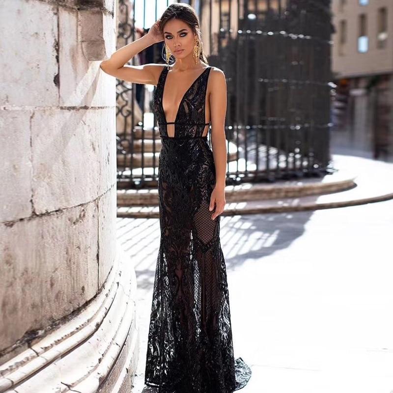 Dernière mode vente chaude célébrité femmes noir femmes Sequin profonde col en V sans manches longue robe robe de Cocktail robes en gros