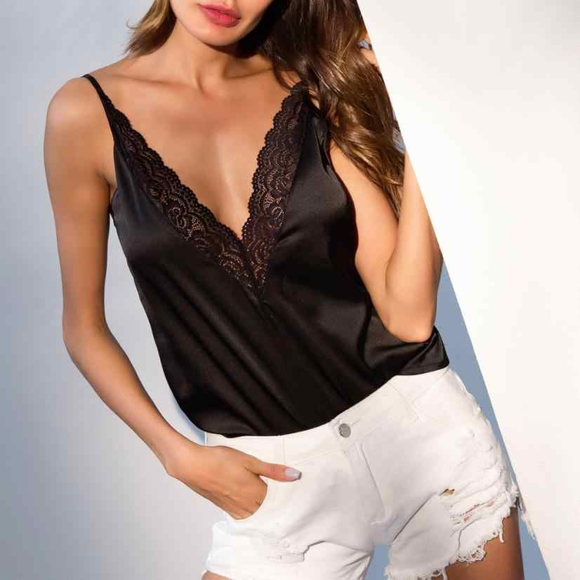 New Fashion Women Tank Top Vest Blouse V Neck Clothes Summer Ladies Sexy Crop Tops Sleeveless Solid Lace T shirts Casual Tee