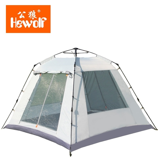 Hewolf 3-4 persons Fully-Automatic Tent 4 Doors Automatic Camping Family Tent Good Quality Family Travel Tent One Room One Hall