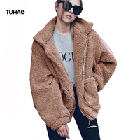 TUHAO Ladies Casual Zipper Faux Fur Coat 2018 Autumn Winter Coats Slim Large Size Long Sleeve Leisure Jackets Solid Tops LQ236